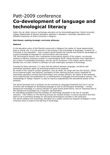 congres PATT language development and technology ... - Alimento