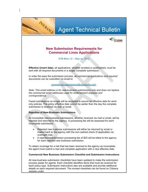 New Submission Requirements For Commercial Lines Applications