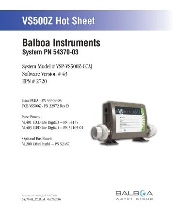 54370-03, VSP-VS500Z-CCAJ - Balboa Direct