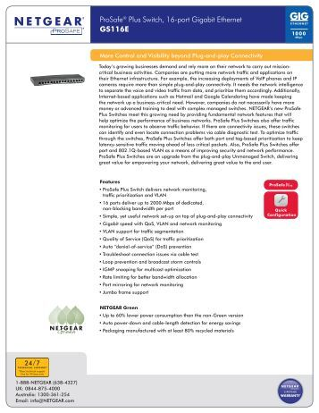 ProSafe® Plus Switch, 16-port Gigabit Ethernet GS116E - Netgear