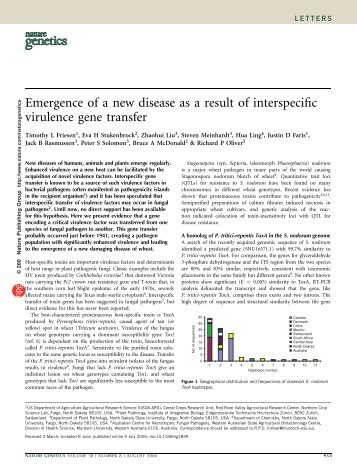 Emergence of a new disease as a result of interspecific virulence ...