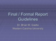 Final / Formal Report Guidelines - PAWS - Western Carolina University