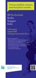 Flyer Spezifischer Studiengang als PDF - IB-Hochschule