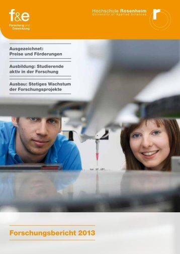 Forschungsbericht 2013 - Hochschule Rosenheim