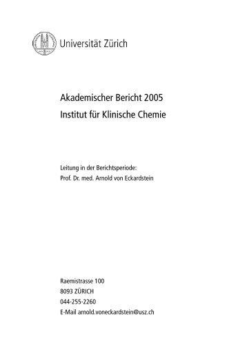 2005 - Institut für Klinische Chemie - UniversitätsSpital Zürich
