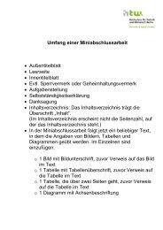 Umfang einer Miniabschlussarbeit • Außentitelblatt • Leerseite ...