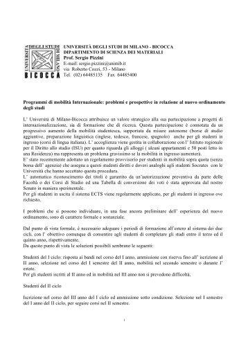 Prof. Sergio Pizzini E-mail: sergio.pizzini@unimib.it via ... - Crui