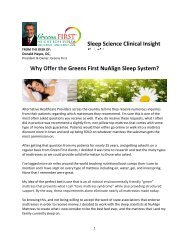 Vol. 1, No. 1 - Why Offer the Greens First NuAlign Sleep System?