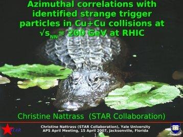 Azimuthal correlations with identified strange ... - RHIG AT YALE