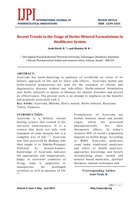 Recent Trends in the Usage of Herbo-Mineral Formulations in