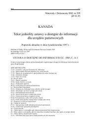 Nr 299. Kanada - Tekst jednolity ustawy o dostępie do informacji dla ...
