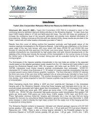 Yukon Zinc Corporation Releases Wolverine Resource Definition ...
