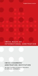 SwiSS ChAMbErS' ArbiTrATion inSTiTuTion SwiSS rulES of ...
