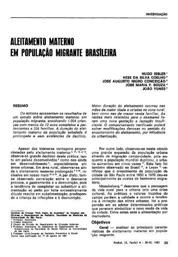 aleitamento materno em população migrante brasileira