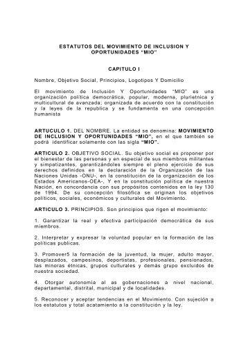 ESTATUTOS DEL MOVIMIENTO DE INCLUSION ... - Movimiento MIO