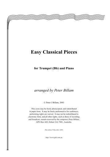 Easy Classical Pieces for Trumpet (Bb) - Pjb.com.au