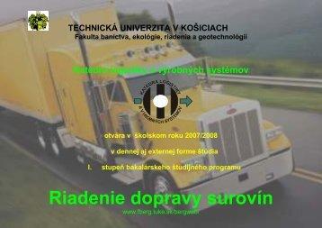 Riadenie dopravy surovín - Fakulta BERG - TUKE