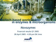 in enzymes & microorganisms Biotech-based world leader Novozymes