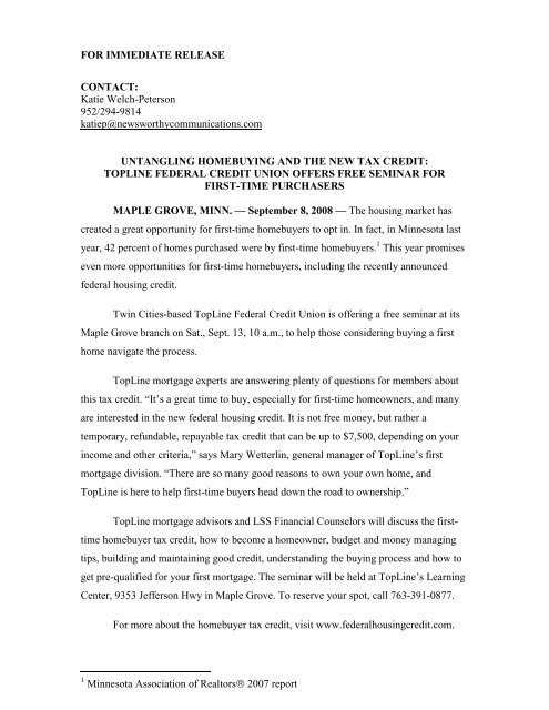 FOR IMMEDIATE RELEASE CONTACT - Topline Federal Credit Union
