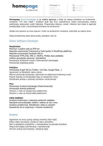 Senior Software Developer Nudimo - Razvoj karijere