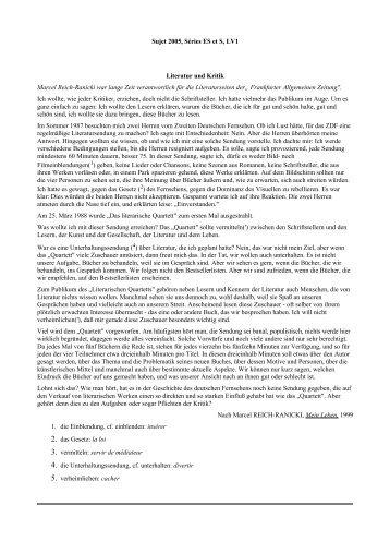 Sujet 2005, Séries ES et S, LV1 Literatur und Kritik ... - Allemand