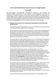 Datenschutzrechtliche Bewertung des Einsatzes von Google Analytics