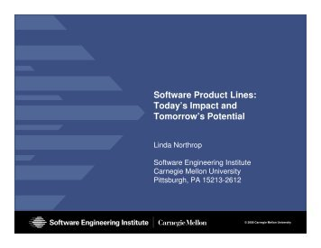 software product lines and architecture A software product line is a set of software-reliant systems that share a common, managed set of features satisfying a particular market or this two-day course introduces the world of software product lines and the basic concepts behind it the course also provides an overview of the.