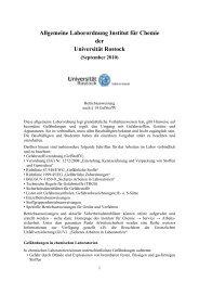 Allgemeine Laborordnung Institut für Chemie der Universität Rostock