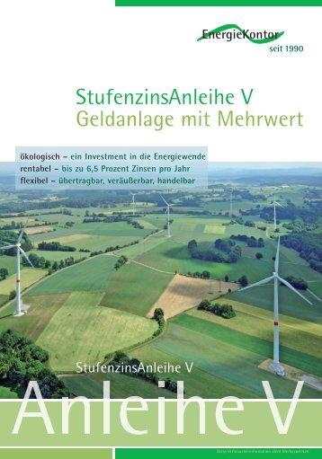 StufenzinsAnleihe V Geldanlage mit Mehrwert - EnergieKontor AG