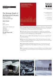 The Strange Death of Architectural Criticism - Black Dog Publishing
