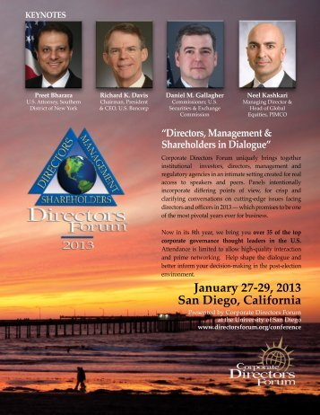 January 27-29, 2013 San Diego, California - Corporate Directors Forum