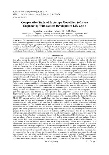Comparative Study of Prototype Model For Software ... - IOSRJEN