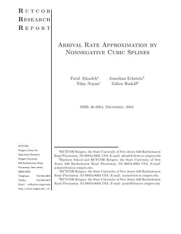 Arrival Rate Approximation by Nonnegative Cubic Splines - Rutcor ...