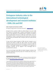 Portuguese industry sales to CERN, ESA and ESO - Adi