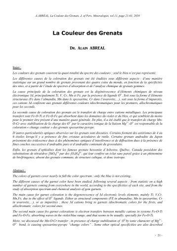 Les Grenats - Page perso minéraux Alain ABREAL : grenats
