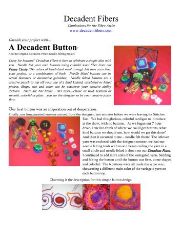 Decadent Fibers A Decadent Button© - Knit 'N Style Magazine