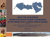 what the arab spring means for health system governance in the ...