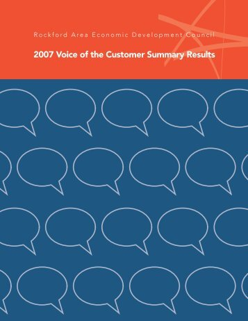 2007 Voice of the Customer (VOC) Summary report - Rockford Area ...