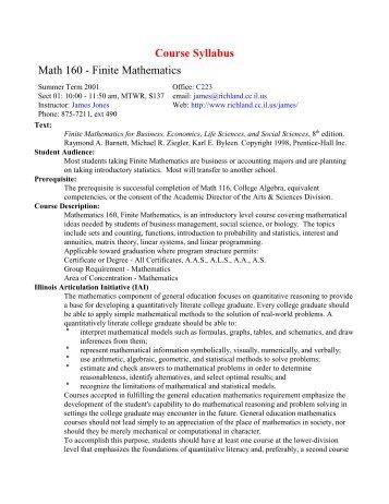 Course Syllabus Math 160 - Finite Mathematics - Richland
