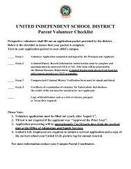 School/Parent Volunteer Application Packet - United Independent ...