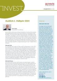 Januar-Ausgabe «acrevis invest