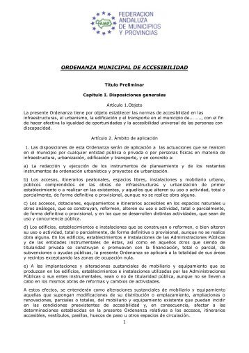 ORDENANZA MUNICIPAL DE ACCESIBILIDAD