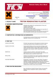 Triton Renovating Plaster Material Safety Data ... - Triton Chemicals