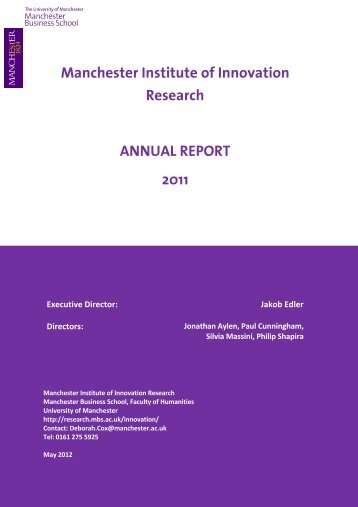 Manchester Institute of Innovation Research ANNUAL REPORT 