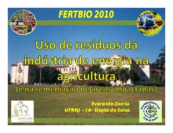 uso de resíduos da indústria de energia na agricultura