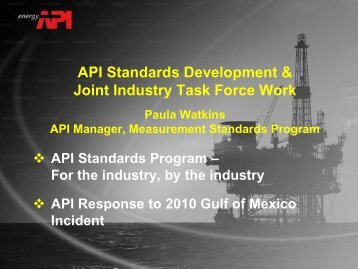 API Standards Development & Joint Industry Task Force Work