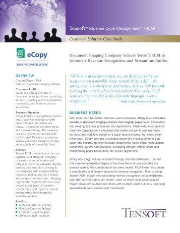 Case Study: eCopy Selects Tensoft RCM to Automate Revenue ...