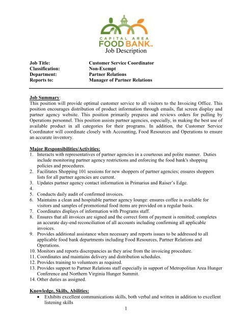 Job Description Capital Area Food Bank