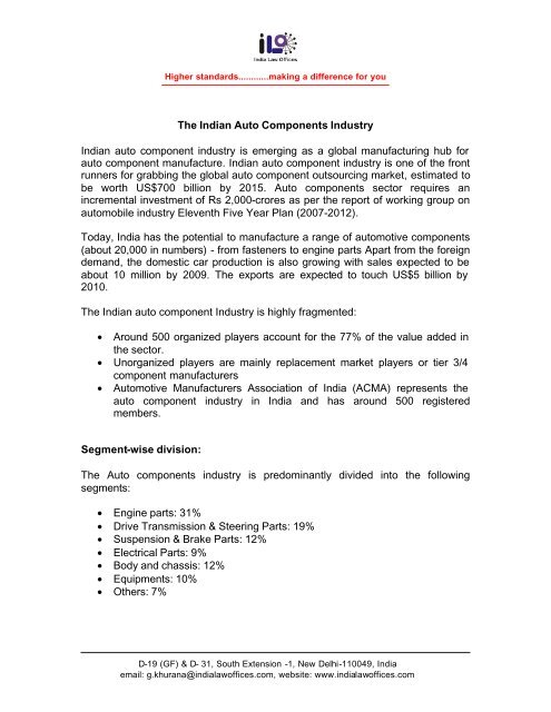 Indian Auto Components Industry - India Law Offices