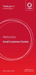 Small Customer Charter Thank you - Origin Energy